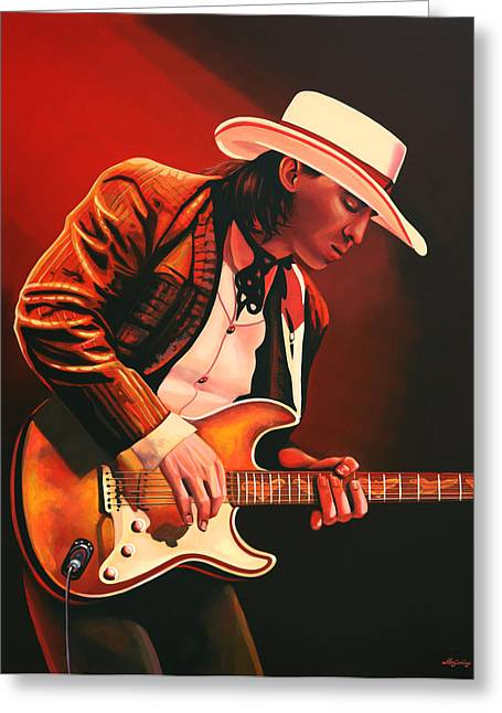 Singer Paintings Greeting Cards - Stevie Ray Vaughan Greeting Card by Paul  Meijering