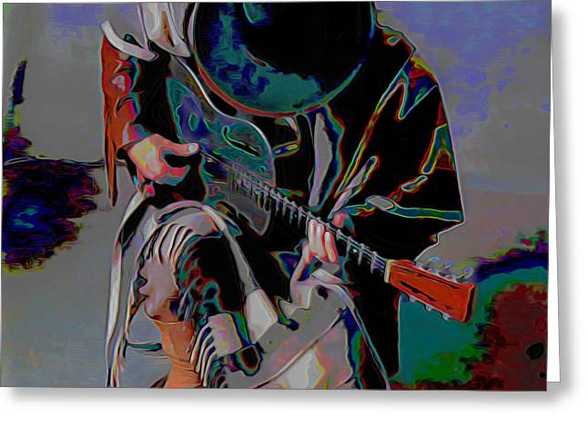 Figurative Greeting Cards - Stevie Ray Vaughan SRV Greeting Card by  Fli Art