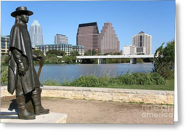Recently Sold -  - First-lady Greeting Cards - Stevie Ray Vaughan Statue Austin Texas Greeting Card by Bill Cobb