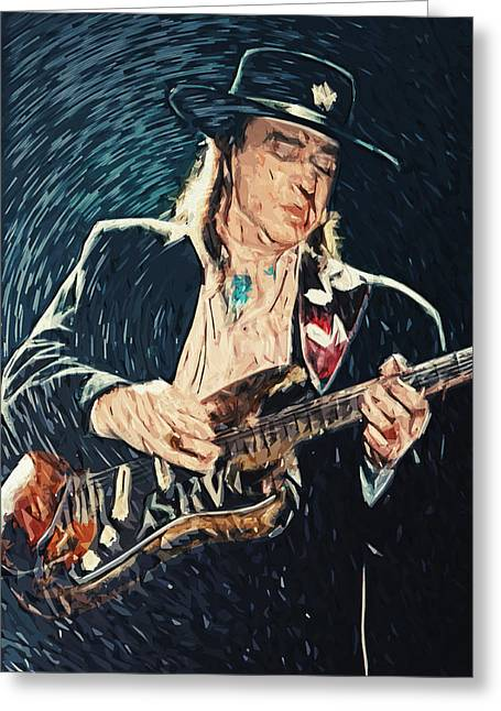 Jeff Greeting Cards - Stevie Ray Vaughan Greeting Card by Taylan Soyturk