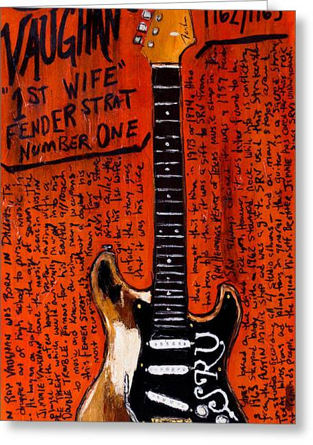 Iconic Guitars Greeting Cards - Stevie Ray Vaughn Fender Stratocaster Greeting Card by Karl Haglund