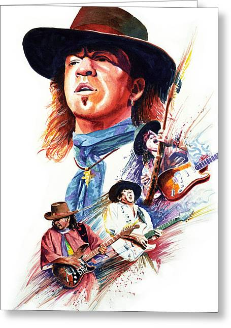 Rock And Roll Paintings Greeting Cards - Stevie Ray Vaughn Greeting Card by Ken Meyer jr