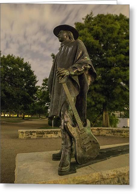 Stevie Ray Vaughn Statue In Austin Tx Greeting Card by John McGraw