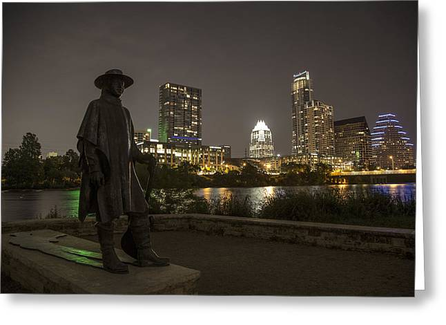 Stevie Ray Vaughn Statue Looking Over Autin Greeting Card by John McGraw