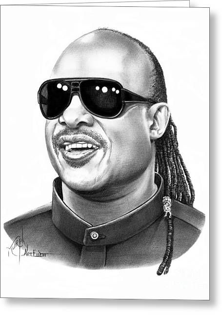 Stevie Wonder Greeting Card by Murphy Elliott