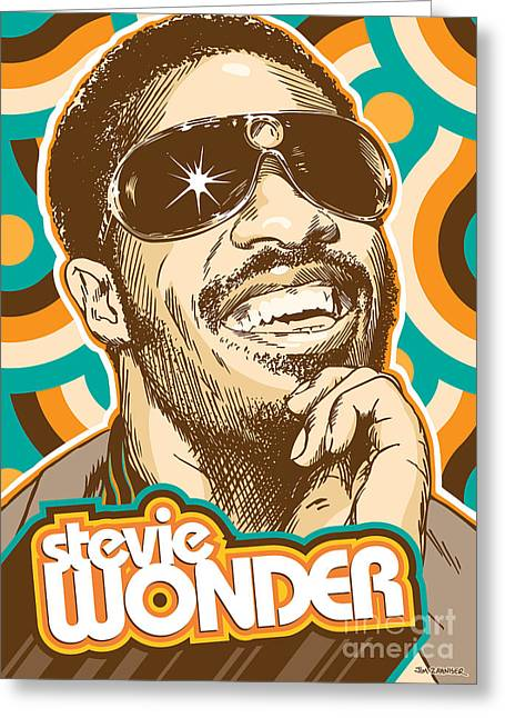 70s Greeting Cards - Stevie Wonder Pop Art Greeting Card by Jim Zahniser