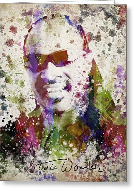 In My Life Greeting Cards - Stevie Wonder Portrait Greeting Card by Aged Pixel