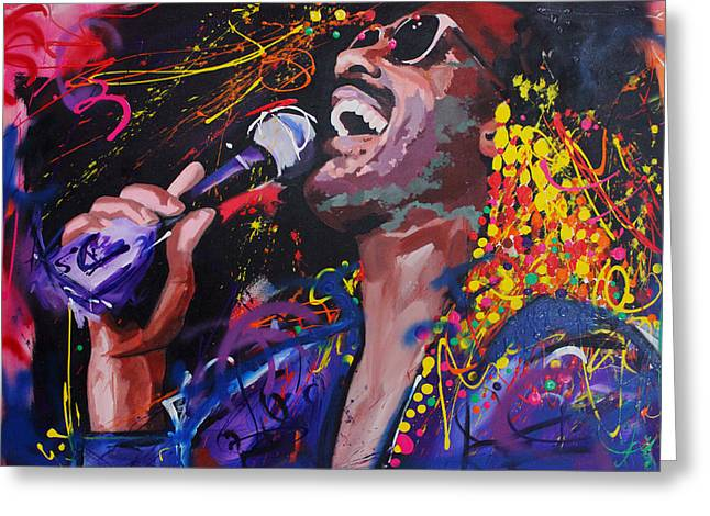 Live Music Greeting Cards - Stevie Wonder Greeting Card by Richard Day