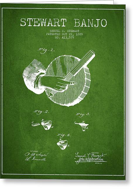 Banjo Greeting Cards - Stewart Banjo Patent Drawing From 1888 - Green Greeting Card by Aged Pixel