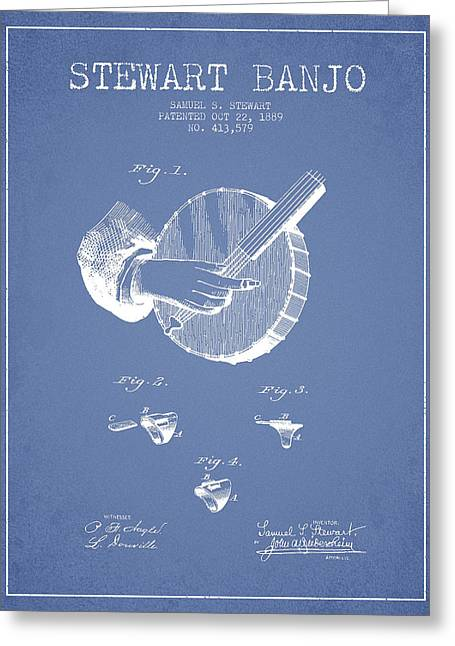 Banjo Greeting Cards - Stewart Banjo Patent Drawing From 1888 - Light Blue Greeting Card by Aged Pixel