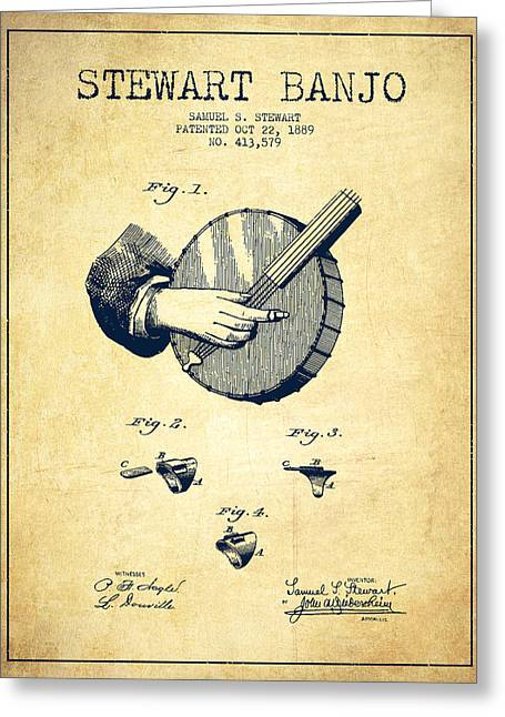 Banjo Greeting Cards - Stewart Banjo Patent Drawing From 1888 - Vintage Greeting Card by Aged Pixel