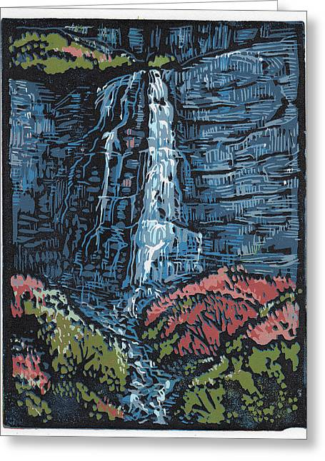 Linocut Paintings Greeting Cards - Stewart Cascades - Linocut Print Greeting Card by Manny Mellor