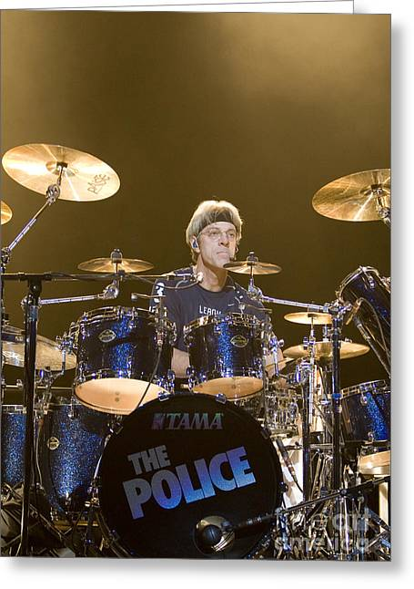 50-55 Years Greeting Cards - Stewart Copeland of The Police Greeting Card by Jason O Watson