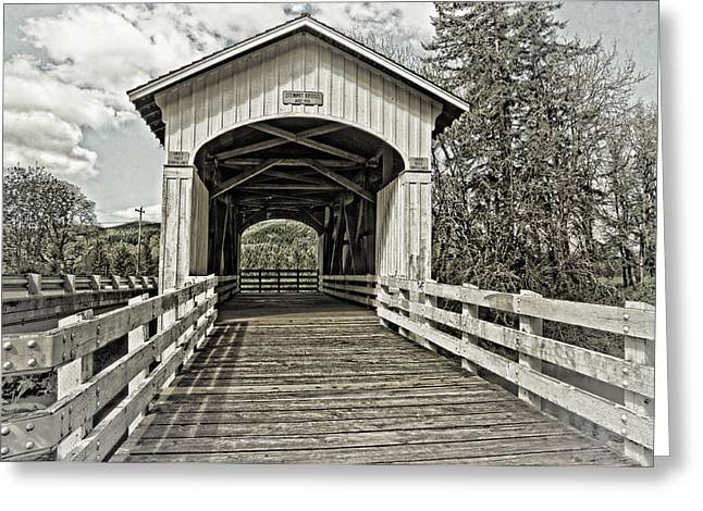 Covered Bridge Greeting Cards - Stewart Covered Bridge 1930 Greeting Card by Thom Zehrfeld