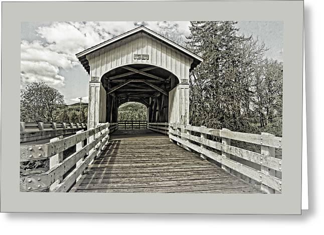 Digital Photography Greeting Cards - Stewart Covered Bridge 1930 Greeting Card by Thom Zehrfeld