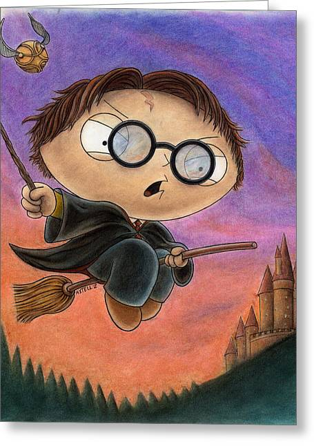 Hogwarts Greeting Cards - Stewie Potter Greeting Card by Jason Axtell