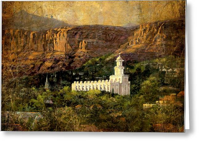 St. George Temple Greeting Cards - St.George Temple Red Hills Antiique Greeting Card by Marcia Johnson