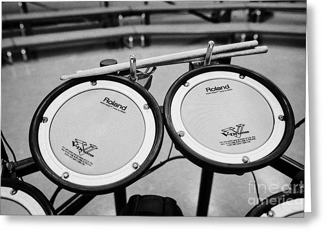 Drum Kit Greeting Cards - Sticks And Pads Of An Electronic Drum Kit In A Music Training Room Greeting Card by Joe Fox