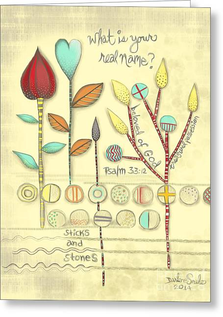 Psalm 33:12 Greeting Cards - Sticks and Stones Greeting Card by Darlene Seale