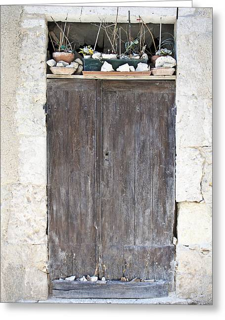 French Door Greeting Cards - Sticks Stones and an Old Wooden Door Greeting Card by Nomad Art And  Design