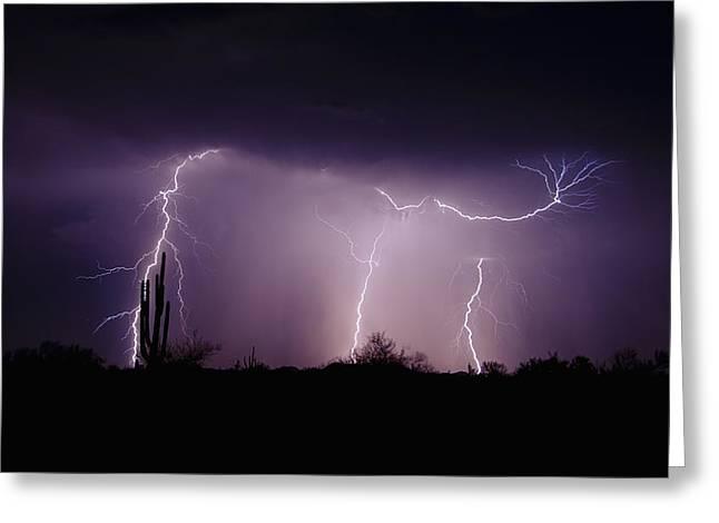 Arizona Lightning Greeting Cards - Sticky Little Fingers  Greeting Card by Saija  Lehtonen