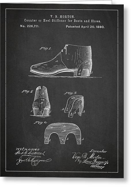Men Shoes Greeting Cards - Stiffner for Boots and shoes Patent Drawing From 1880 Greeting Card by Aged Pixel