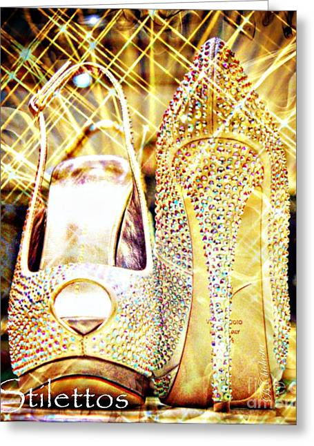 High Heels Abstract Art Greeting Cards - Stilettos Greeting Card by Barbara Chichester