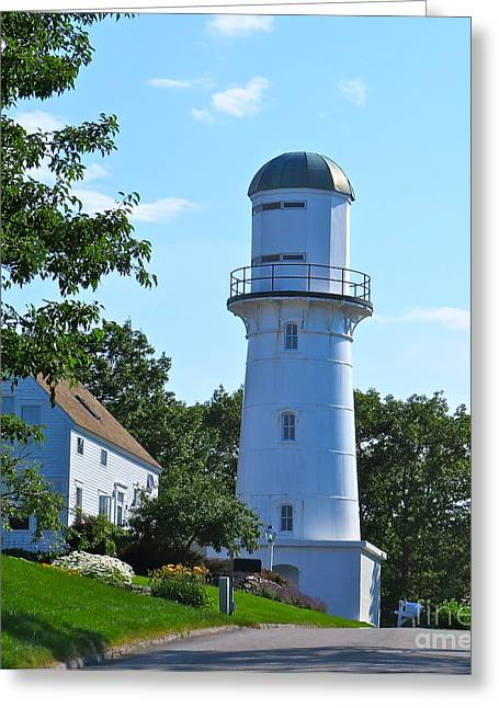 Maine Lighthouses Greeting Cards - Still A Light To The Past Greeting Card by Nancy Patterson