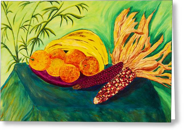 Santa Cruz Ca Paintings Greeting Cards - Still Fruit and Corn  Greeting Card by Phoenix The Moody Artist