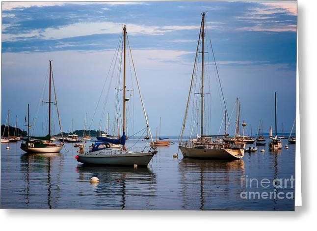 Sailboats In Harbor Photographs Greeting Cards - Still Harbor Greeting Card by Deborah Scannell