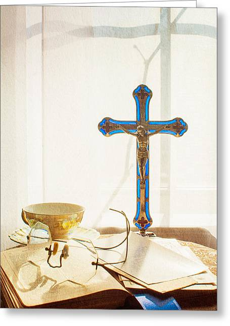 Still Life - Crossed Shadows Greeting Card by Jon Woodhams