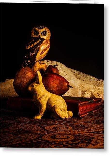 Doily Greeting Cards - Still Life - Owl Pears and Rabbit Greeting Card by Jon Woodhams