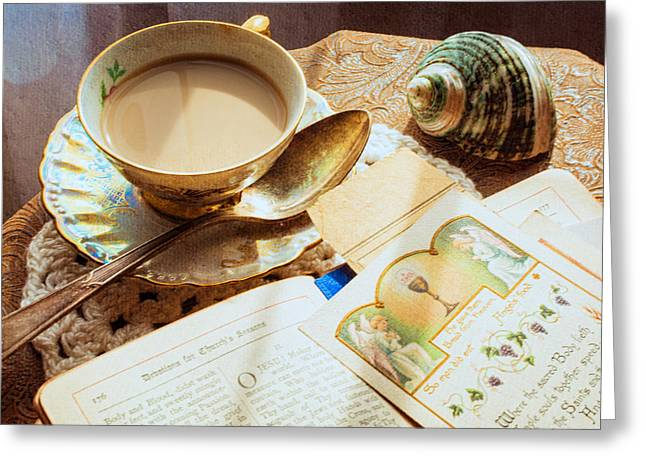 Still Life - Teacup Shell And Devotions Greeting Card by Jon Woodhams