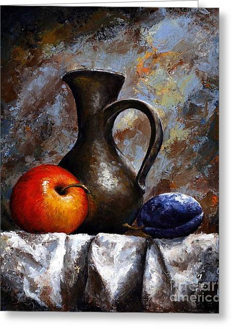 Blue Grapes Greeting Cards - Still life 13 Greeting Card by Emerico Imre Toth