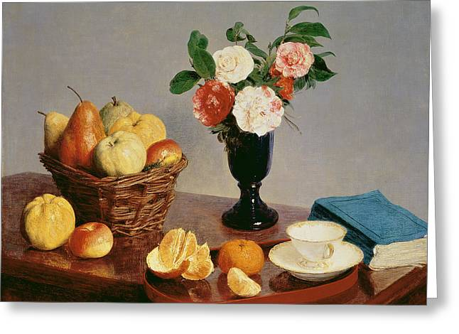 Cup And Saucer Greeting Cards - Still Life, 1866 Oil On Canvas Greeting Card by Ignace Henri Jean Fantin-Latour
