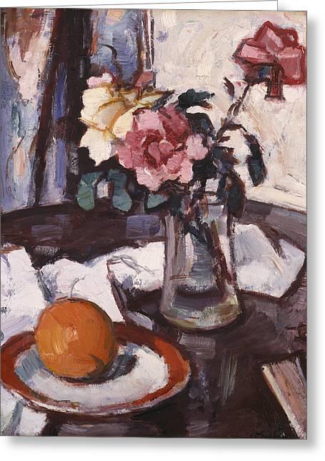 Roses Greeting Cards - Still-life, 1935 Greeting Card by Samuel John Peploe