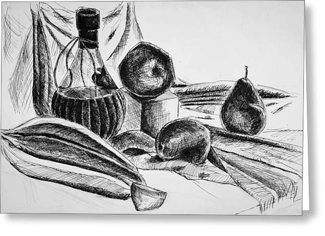 Fruit And Wine Greeting Cards - Still Life 4 Greeting Card by Alexandra-Emily Kokova
