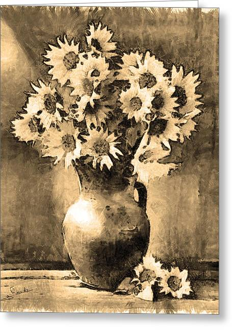 Potted Plants Drawings Greeting Cards - Still life 4 Greeting Card by George Rossidis