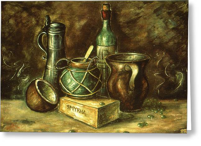 Contemporary_art Greeting Cards - Still Life 72 - Oil Painting Greeting Card by Art America - Art Prints - Posters - Fine Art