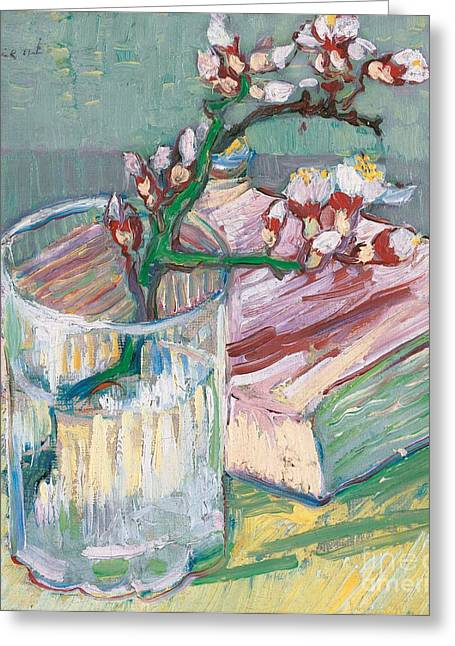 Vangogh Paintings Greeting Cards - Still life    a flowering almond branch Greeting Card by Vincent Van Gogh