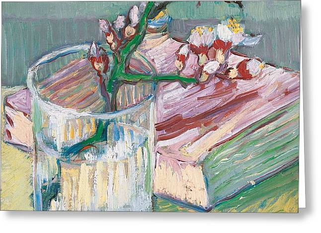 Still life    a flowering almond branch Greeting Card by Vincent Van Gogh