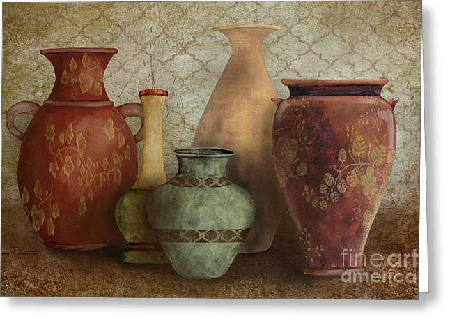 Pottery Pitcher Paintings Greeting Cards - Still Life-A Greeting Card by Jean Plout