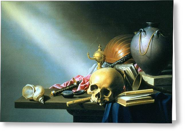 Watch Paintings Greeting Cards - Still Life An Allegory of the Vanities of Human Life Greeting Card by Harmen van Steenwyck