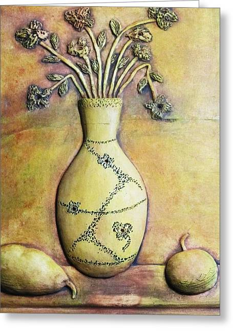 Flower Still Life Reliefs Greeting Cards - Still Life Greeting Card by Angelica Sepulveda