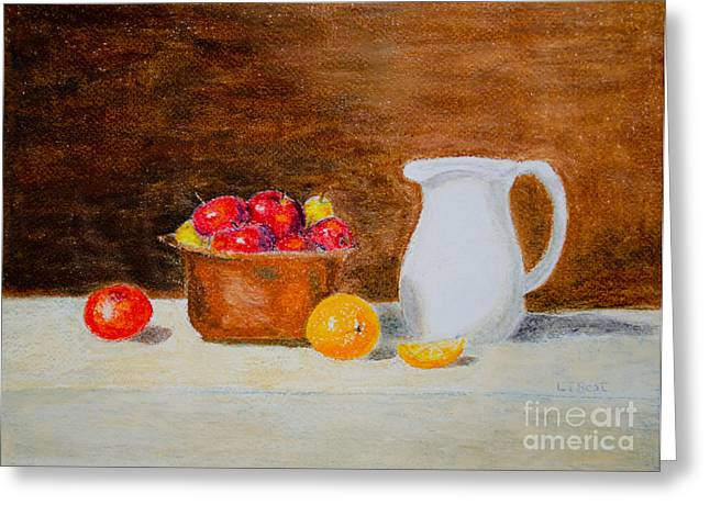 Jugs Pastels Greeting Cards - Still Life Apples and Oranges Greeting Card by Laurel Best