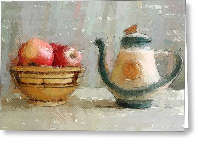 Still Life Apples And Tea Pot Greeting Card by Yury Malkov