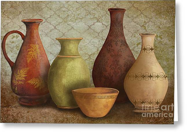 Pottery Pitcher Paintings Greeting Cards - Still Life-B Greeting Card by Jean Plout