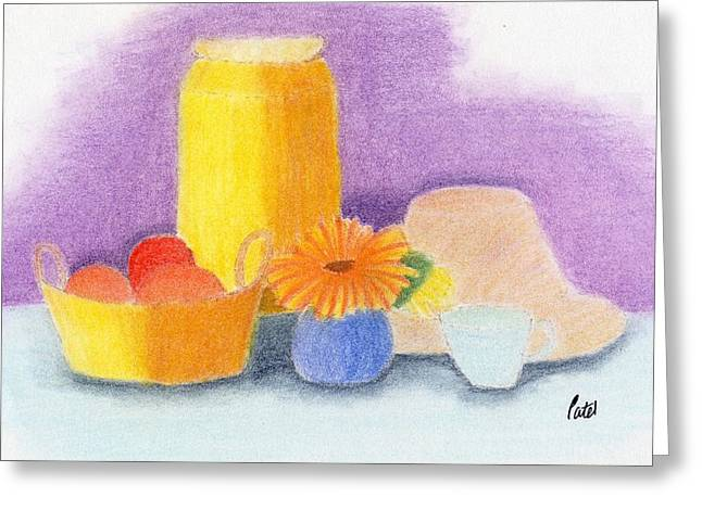 Jugs Pastels Greeting Cards - Still Life Greeting Card by Bav Patel