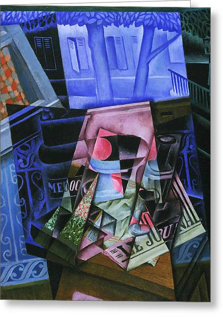 Open Window Paintings Greeting Cards - Still Life before an Open Window Place Ravignan Greeting Card by Juan Gris