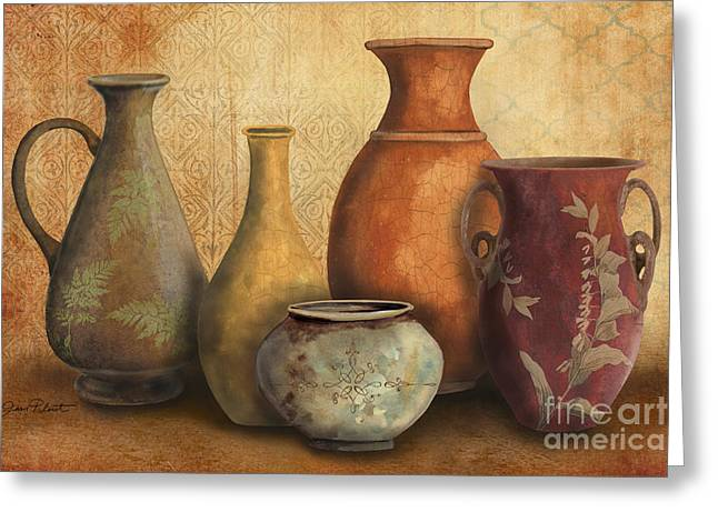 Pottery Pitcher Paintings Greeting Cards - Still Life-C Greeting Card by Jean Plout